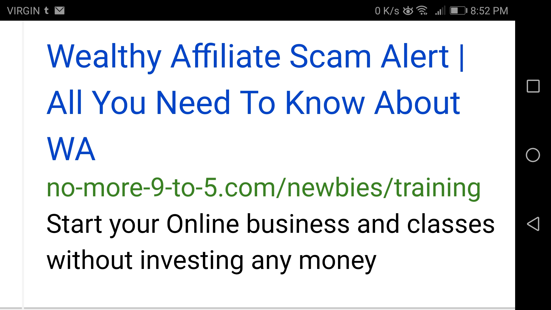 Wealthy Affiliate - no money down